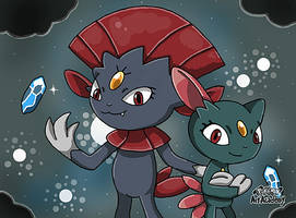 Weavile and Sneasel by 29steph5