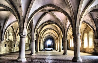 Dormitory of Alcobaca monastery in Portugal