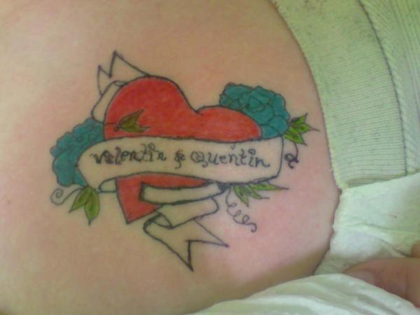 Broken Heart Tattoo For Women Sacred Heart with kids names Tattoo