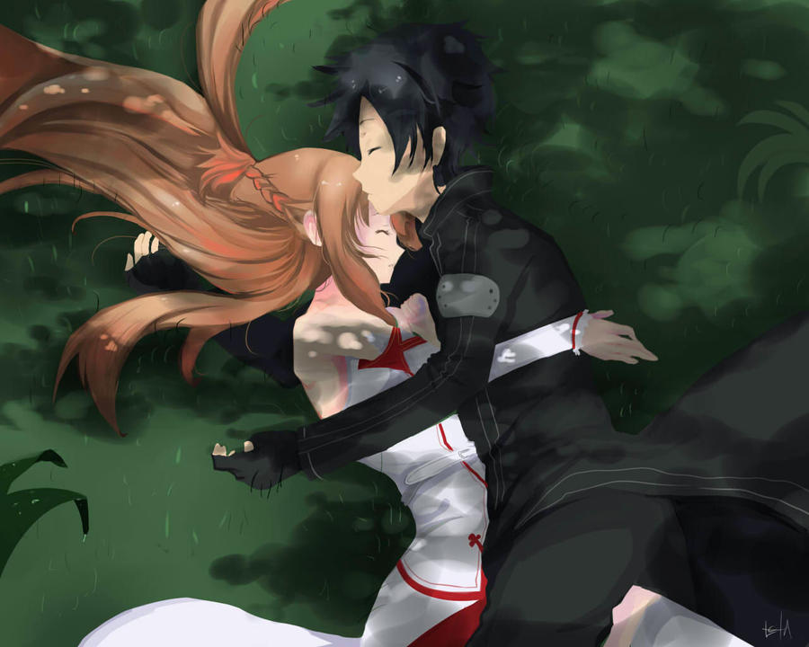 Asuna and Kirito by nightfall16