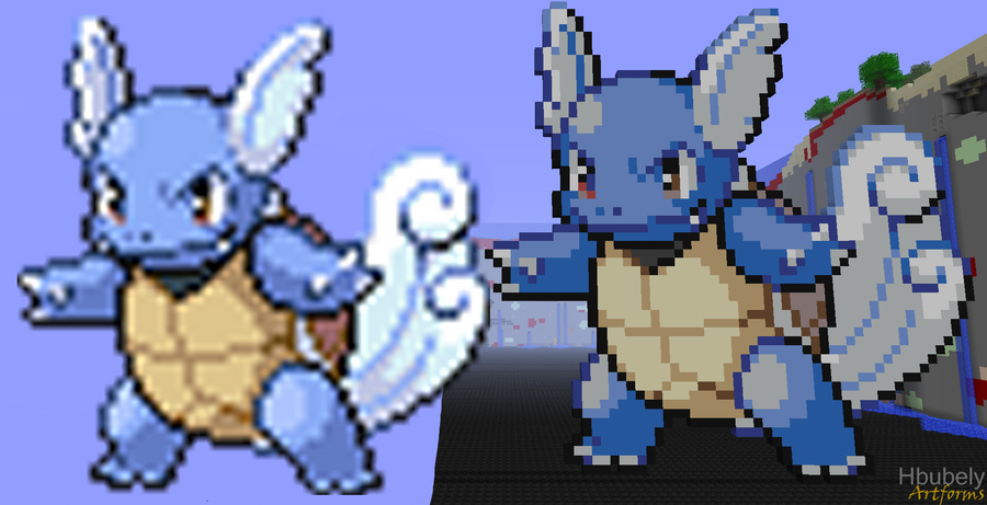 Wartortle - Minecraft Art by HbubelyArtForms