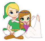 Pixel Couple - Link And Zelda by WhizzPop