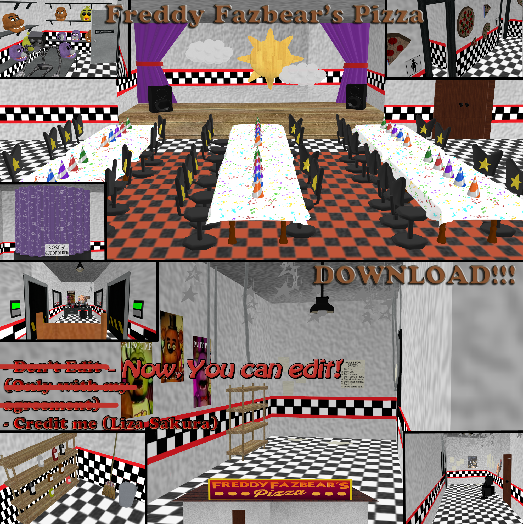 [MMD] Freddy Fazbear's Pizza Stage. DOWNLOAD!!! by LizaSakura