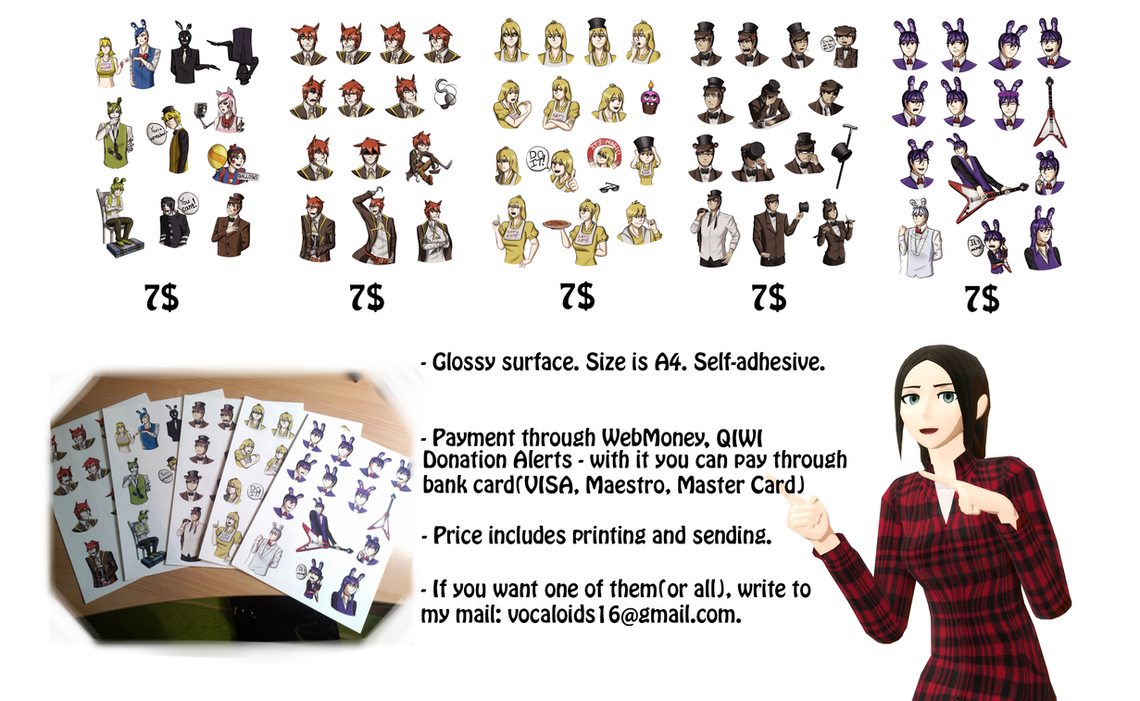 FNaF Stickers. You can buy them! by LIZASAKURA