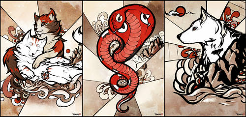Sumi-e style. The cats, the snake and the dog.