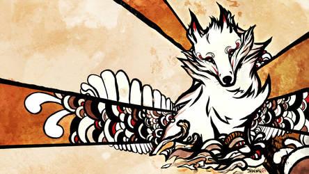 Ukiyo-e style, the fox.