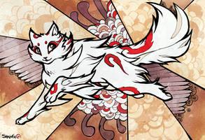 Ukiyo-e style, Cat jump. by Shalinka