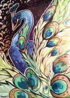 Ukiyo-e style, Peacock. by Shalinka