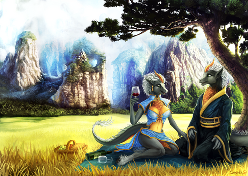 Painting Commission - A lovely picnic.