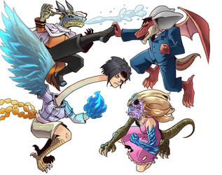 Hinata and Naruto VS Francine and Stan by gekkodimoria