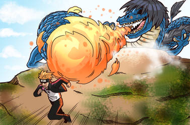 Hinata Dragon Mode VS Boruto by gekkodimoria