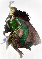 Lady Loki and her power stick by Diamond-Skull