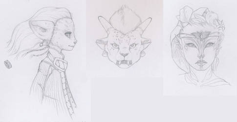 Guild Wars 2 character scetches by BlueDecember89