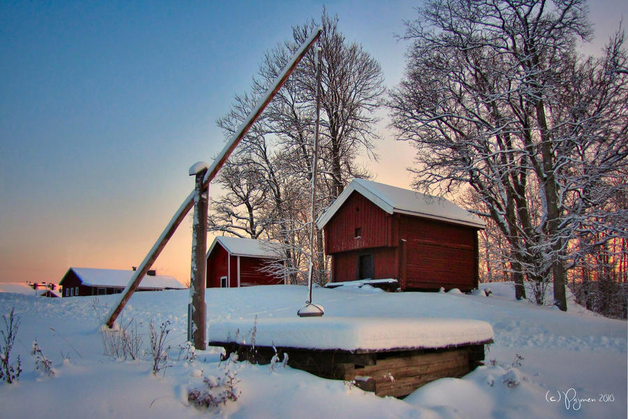 A Snowy Well by Pajunen
