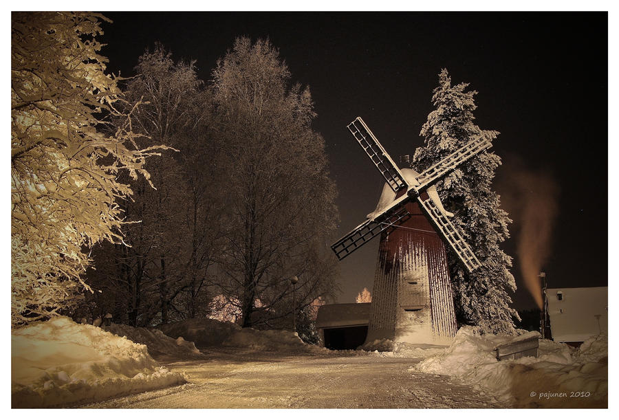 Winter Night Windmill by Pajunen