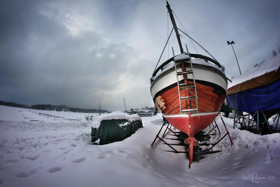 Old boat in winter