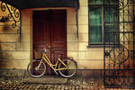 Her yellow bike