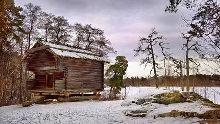 Old Shed in Winter by Pajunen