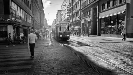 Helsinki streets bw by Pajunen