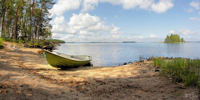 A rowboat by the lake