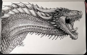 Inktober 2017 - Drogon by psycrowe