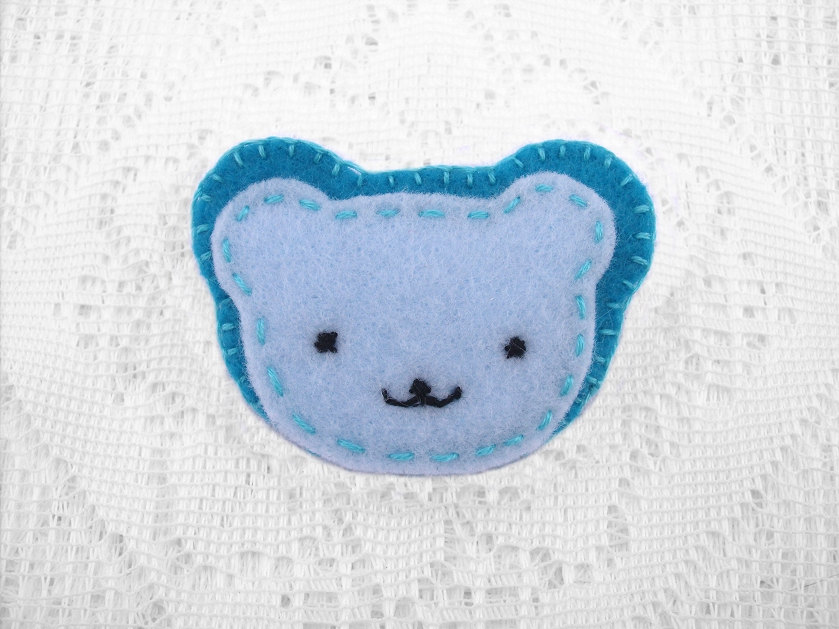 Cute blue teddy bear brooch by PeachPodHandmade