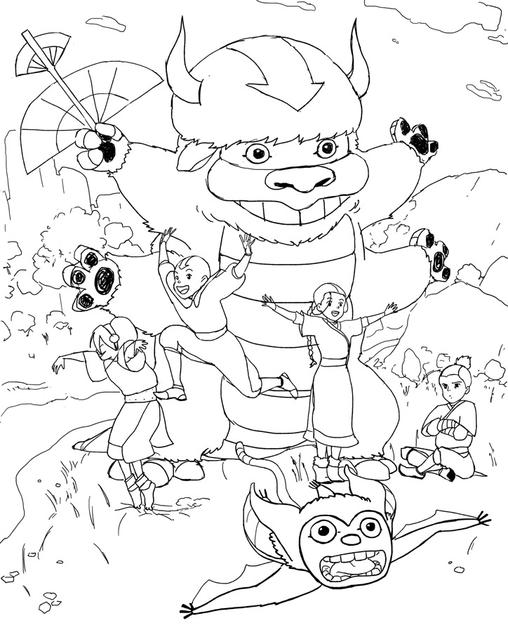 studio ghibli coloring pages Avatar the Last Air bender in Studio Ghibli style coloring page studio ghibli coloring pages