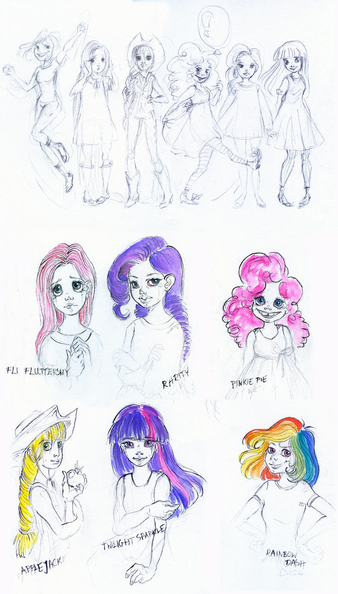 MLP Friendship is Magic Human doodles by kamarza