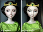 mattel Elinor doll and my repaint compare