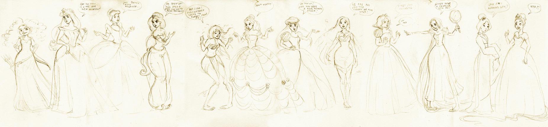 Princess Meeting doodles by kamarza