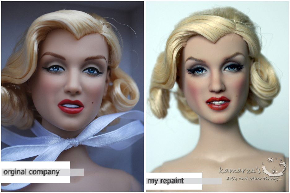 Marilyn Monroe repaint and orginal comparison by kamarza