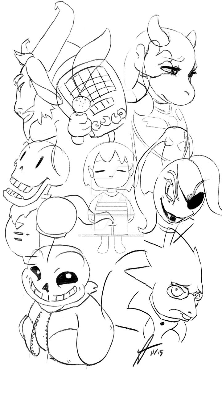 Undertale main characters sketch by aquatrollmoon on for Undertale coloring pages