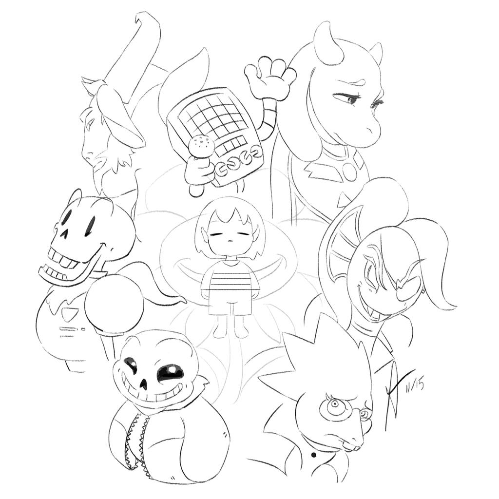 Undertale main characters sketch edit by aquatrollmoon on for Undertale coloring pages
