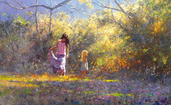 'Taking Care' by Robert Hagan Oil on Canvas