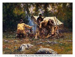 'Campfire Stories' Oil on Canvas By Robert Hagan by robert-hagan
