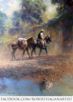 'Moving Camp' - Oil on Canvas By Robert Hagan by robert-hagan