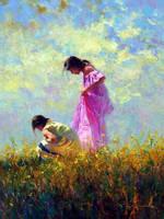 'Midday Stroll' - Oil on Canvas By Robert Hagan by robert-hagan