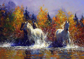 'Afternoon Run' - Oil on Canvas - By Robert Hagan by robert-hagan