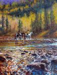 'The Crossing' - Oil Color By Robert Hagan