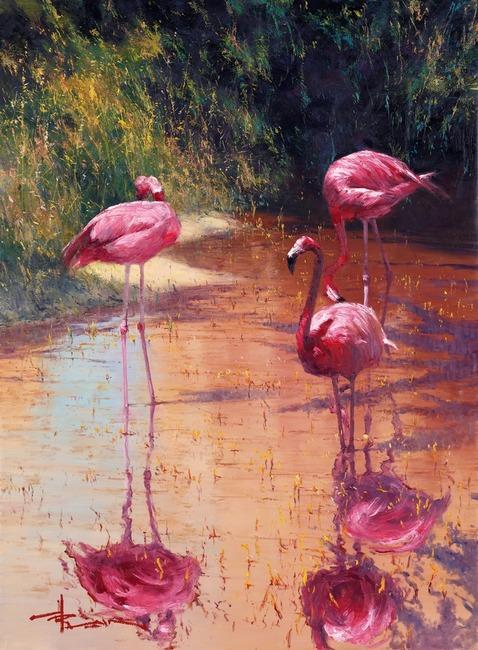 'Streak of Pink' Oil on Canvas by Robert Hagan by robert-hagan