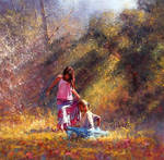 'Afternoon Meeting' - Oil On Canvas - Robert Hagan