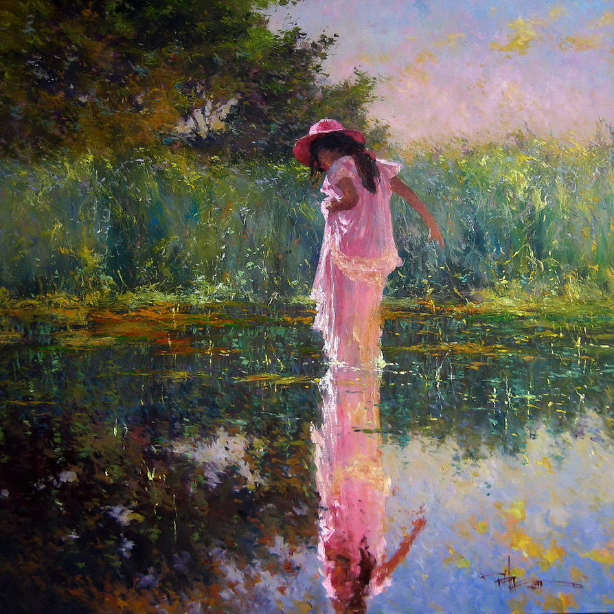 39 summer warmth 39 oil on canvas robert hagan by robert for How to do painting on canvas