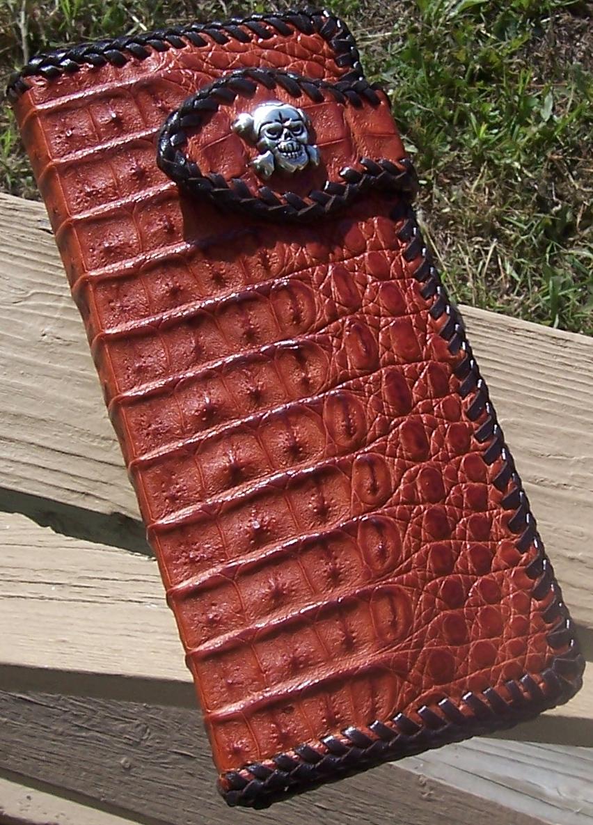 Cayman Crocodile Biker Wallet by BigPapaLeather