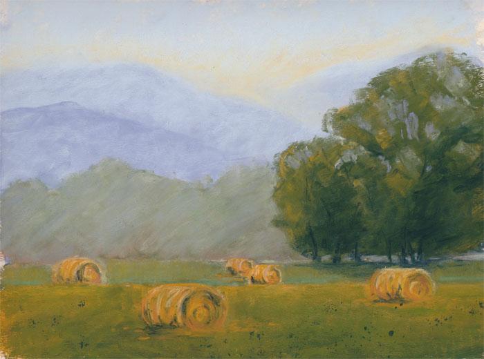 Round Bales Pastel Landscape Painting by Angela-Vandenbogaard