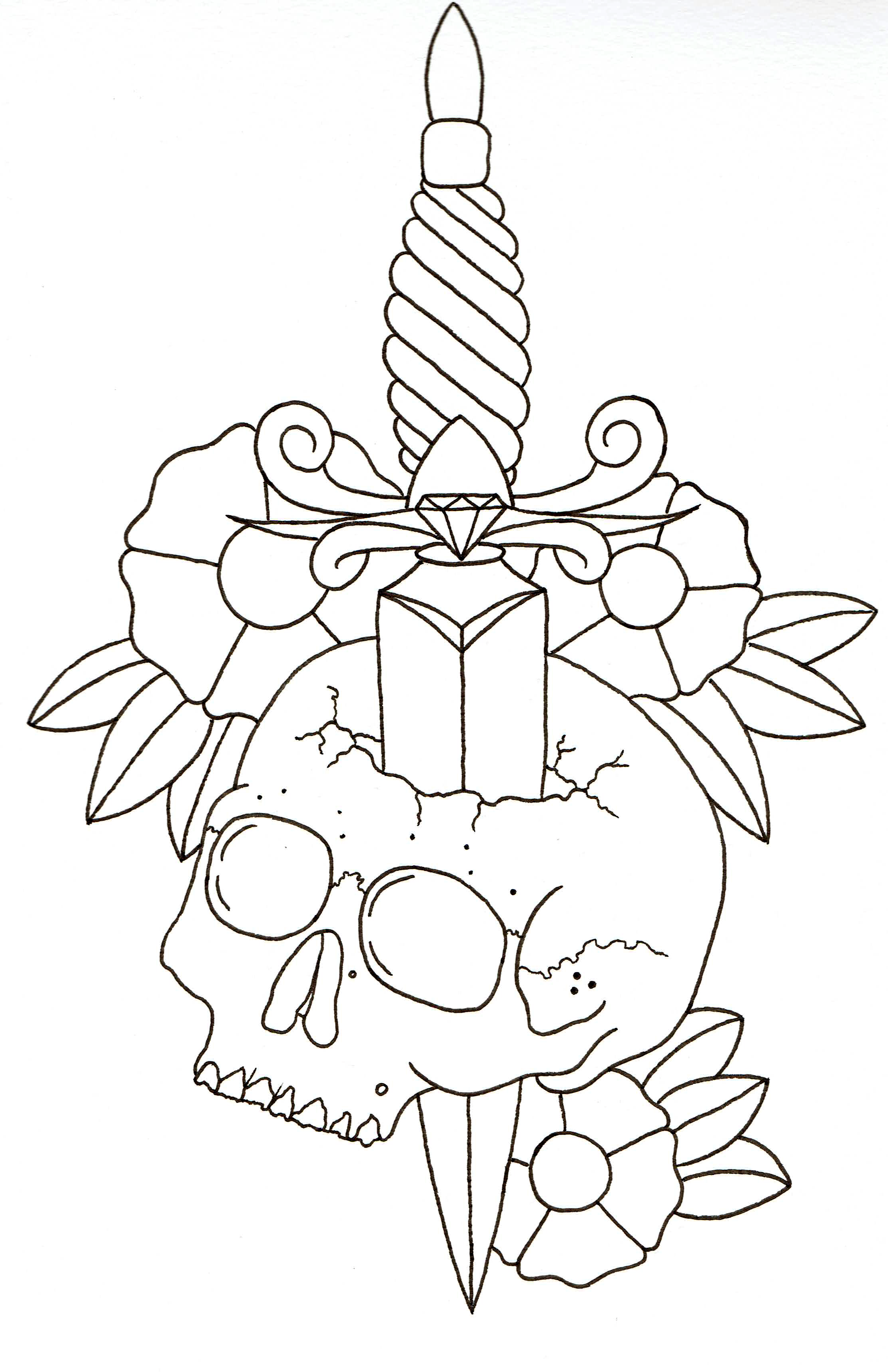 Skull Line Drawing Tattoo : Dagger in skull with flowers wip lines by beyondedge on