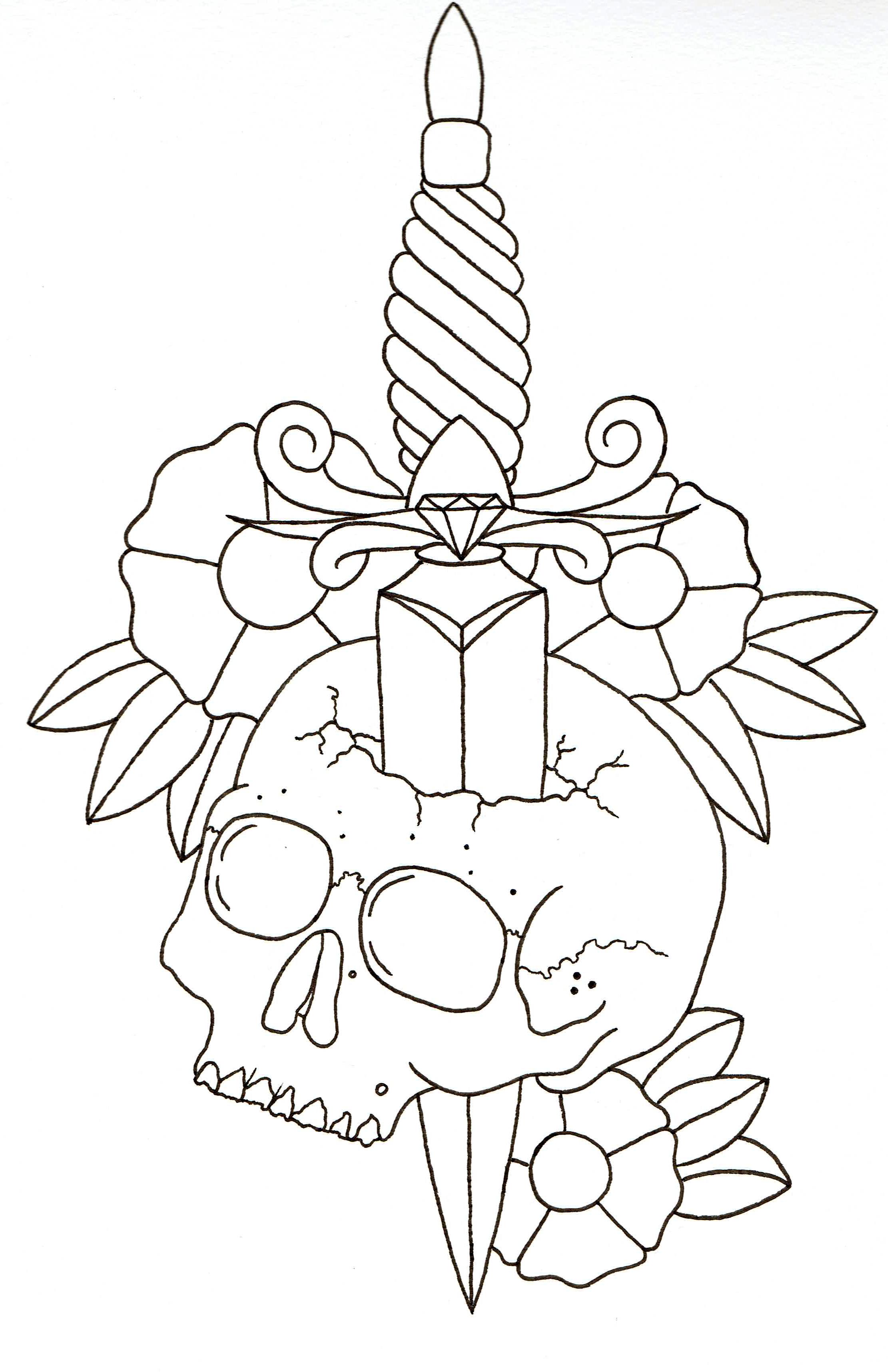 Dagger Tattoo Outline