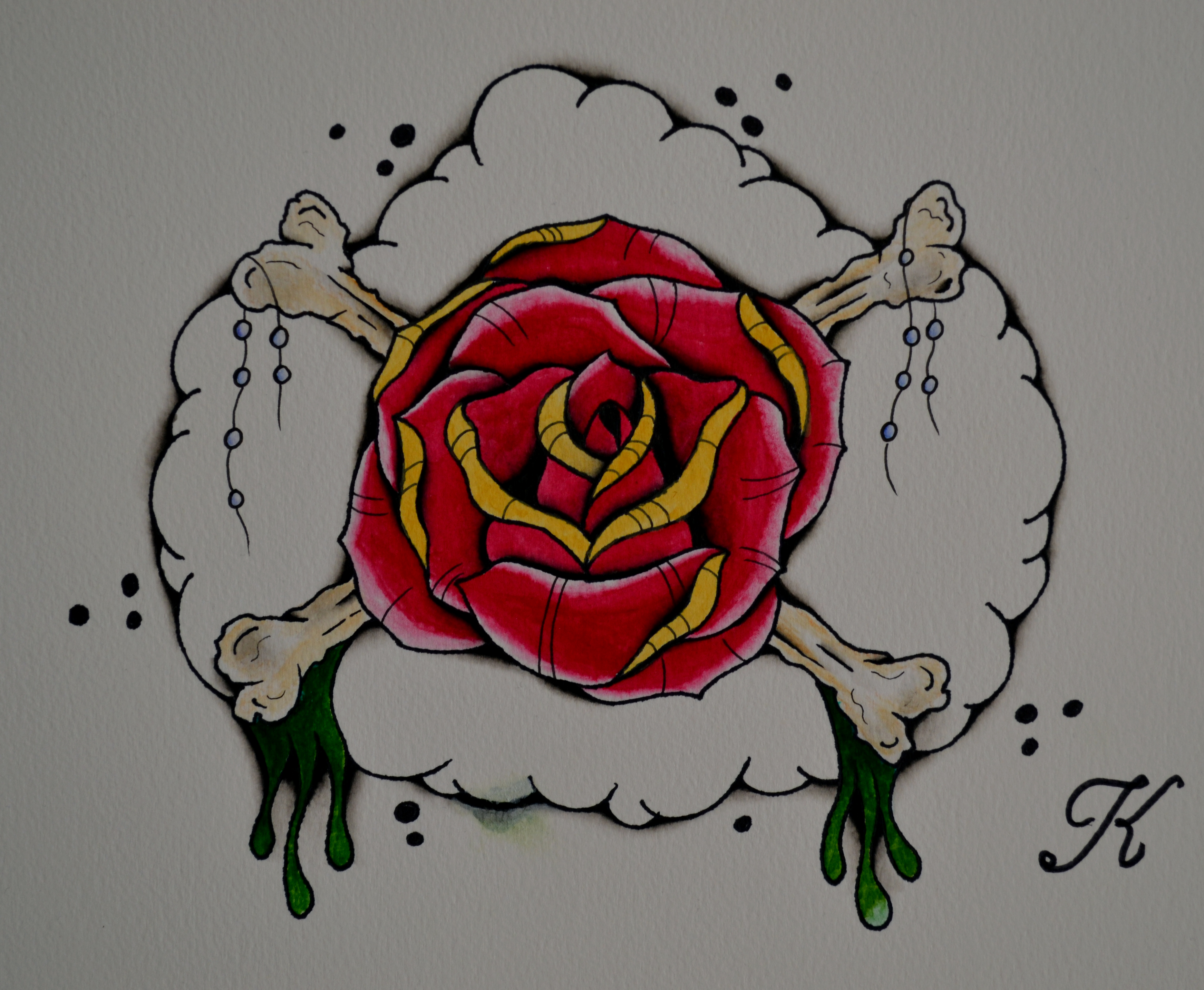 Neo traditional rose and bones by beyondedge on deviantart for Neo traditional rose tattoo