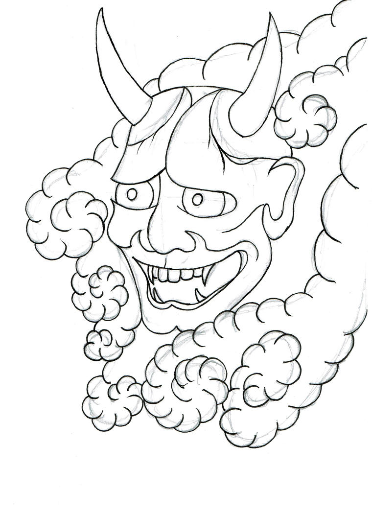 Japanese Tattoo Line Drawing : Hannya wip lines by beyondedge on deviantart