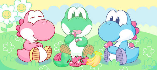 Yoshi Snack Time by Pup-Star