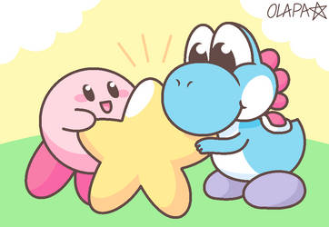 Yoshi and Kirby by Pup-Star